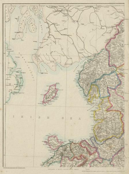 Associate Product ENGLAND & WALES NW. Cumbria Lancashire Welsh coast Isle of Man. WELLER 1862 map