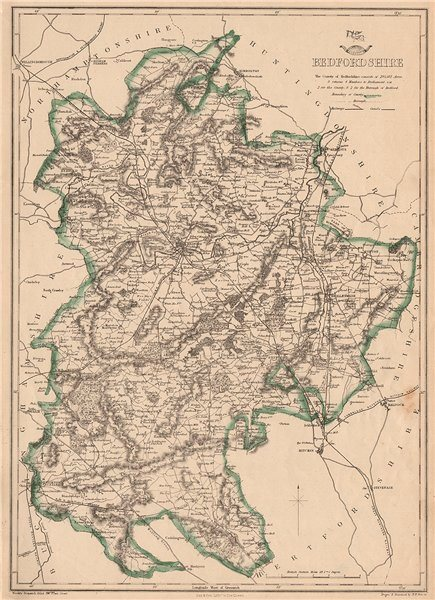 Associate Product BEDFORDSHIRE. Antique county map. Railways canals. BR DAVIES 1862 old