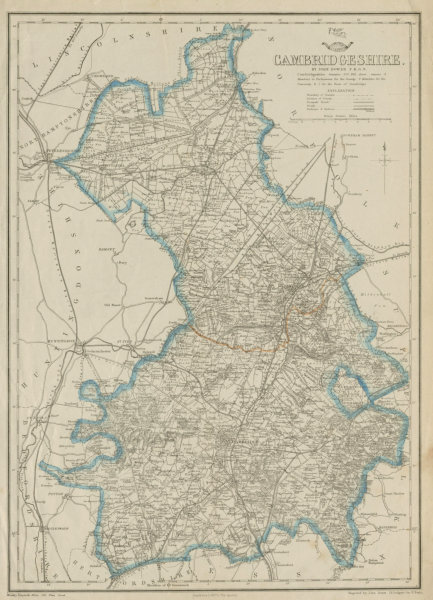 Associate Product CAMBRIDGESHIRE. Antique county map. Railways turnpike roads. DOWER 1862