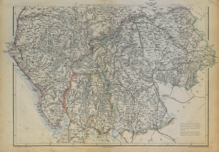 Associate Product ENGLISH LAKE DISTRICT. Cumberland/Westmorland South. Railways. WELLER 1862 map