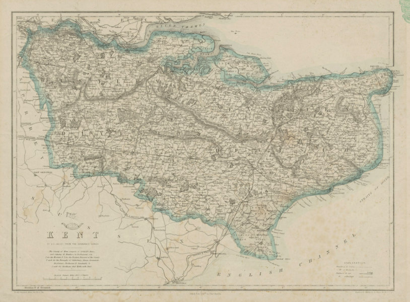 Associate Product KENT. County map. Downs. Railways in use/under construction. BR DAVIES 1862