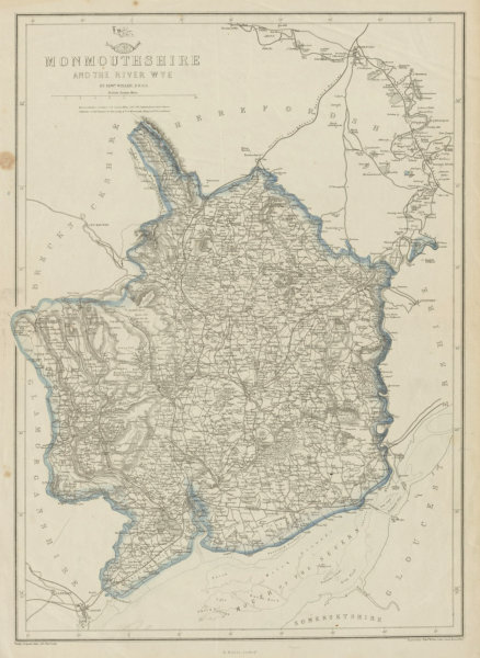 Associate Product RIVER WYE VALLEY & MONMOUTHSHIRE. Antique county map. Railways. WELLER 1862