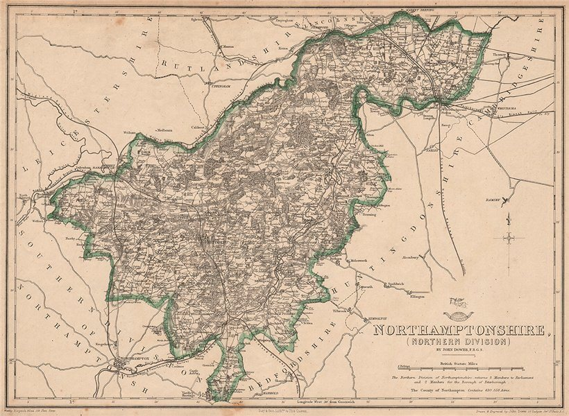 Associate Product NORTHAMPTONSHIRE NORTH. Rockingham Forest. Railways. DOWER. Dispatch 1862 map
