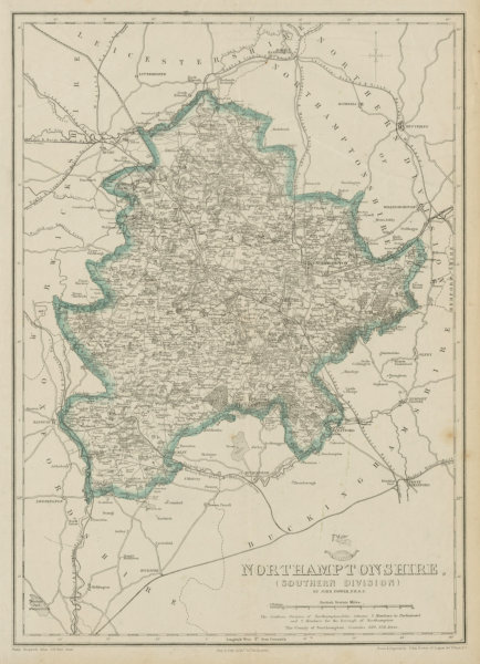 Associate Product NORTHAMPTONSHIRE SOUTH. Daventry Towcester. Railways. DOWER. Dispatch 1862 map