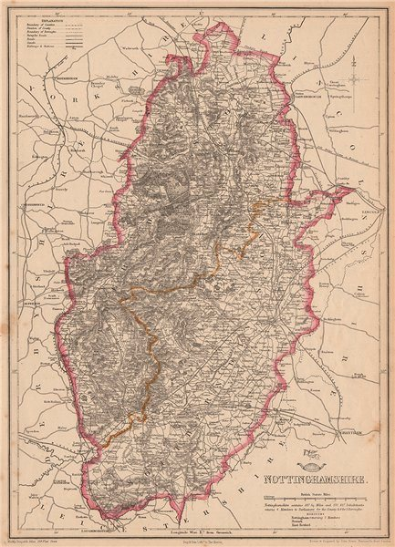 Associate Product NOTTINGHAMSHIRE. Antique county map. Railways Dukeries. DOWER 1862 old