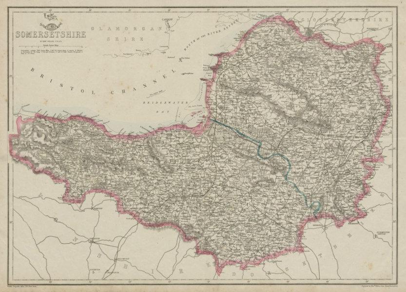 Associate Product SOMERSETSHIRE. Antique county map. Railways. Mendips. Exmoor. WELLER 1862