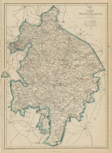 Associate Product WARWICKSHIRE. Birmingham. County map showing excave & railways. WELLER 1862