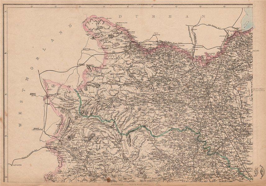 YORKSHIRE NORTH WEST. Harrogate Richmond Thirsk Middlesbrough. WELLER 1862 map