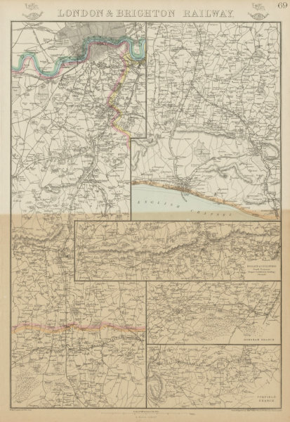 Associate Product LONDON & BRIGHTON RAILWAY. Reigate Guildford Horsham Uckfield. WELLER 1862 map
