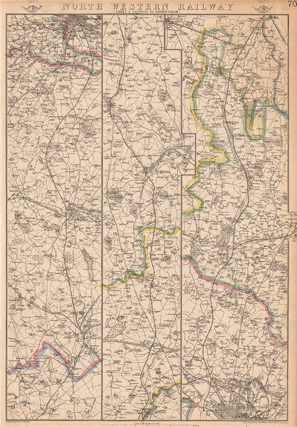 Associate Product NORTH WESTERN RAILWAY 1. London to Rugby, Coventry & Birmingham.WELLER 1862 map