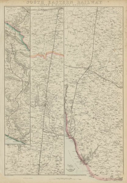Associate Product SOUTH EASTERN RAILWAY. Dover & Hastings Branches. Tunbridge. WELLER 1862 map