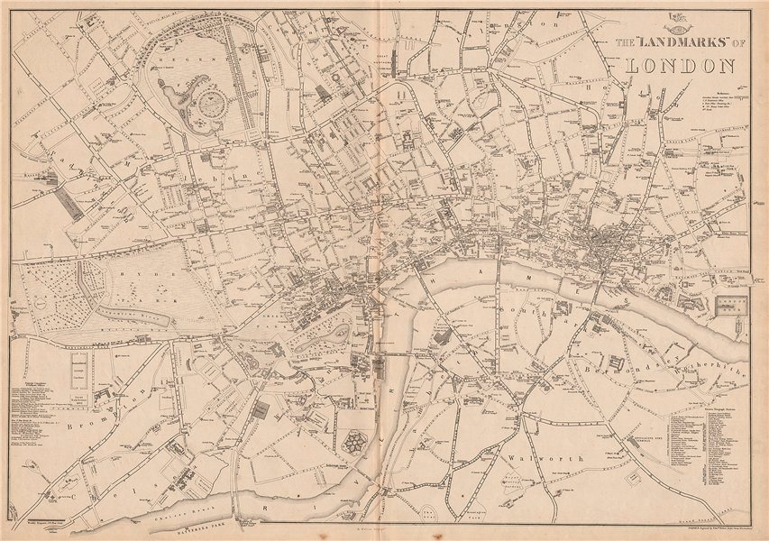 LANDMARKS OF LONDON. Clubs Theatres Churches Public Buildings. WELLER 1862 map