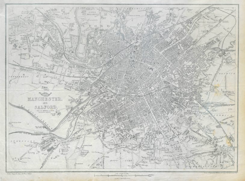 Associate Product MANCHESTER & SALFORD. Large town/city plan by BR DAVIES.Dispatch Atlas 1862 map
