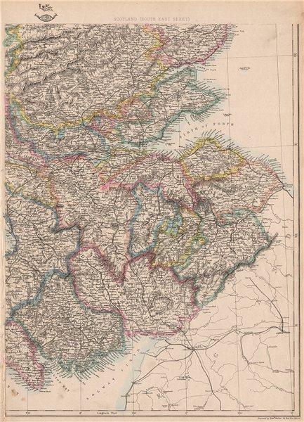 Associate Product SCOTLAND SOUTH EAST. Borders Central Edinburgh Glasgow Railways.WELLER 1862 map