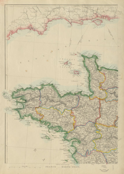 Associate Product FRANCE NORTH WEST. Brittany Bretagne Normandy Normandie Loire.JW LOWRY 1862 map