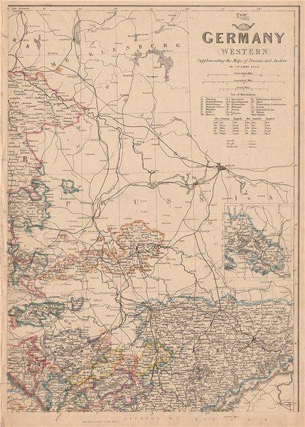 Associate Product GERMANY NORTH EAST. Saxony Weimar Altenburg Anhalt. JW LOWRY. Dispatch 1862 map