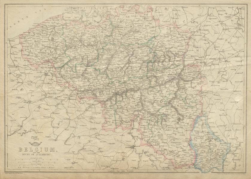 Associate Product BELGIUM & LUXEMBOURG. Provinces rivers railways. JW LOWRY. Dispatch 1862 map