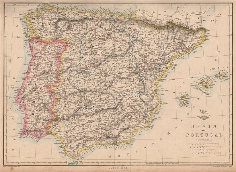 Associate Product IBERIA. Shows early Spanish & Portuguese railways. WELLER. Dispatch 1862 map