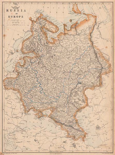Associate Product RUSSIA IN EUROPE. Moscow-St Petersburg Warsaw-Krakow railways.JW LOWRY 1862 map
