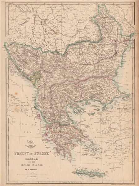 Associate Product GREECE & BALKANS. Aegean. British Ionian Islands. Rumilia. ETTLING 1862 map