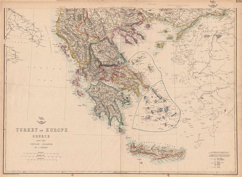 Associate Product GREECE Turkey in Europe British Ionian Islands Cyclades Aegean.ETTLING 1862 map