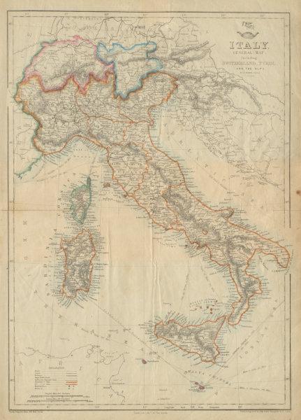 Associate Product ITALY SWITZERLAND TYROL ALPS. Italian unification.DOWER.Dispatch atlas 1862 map