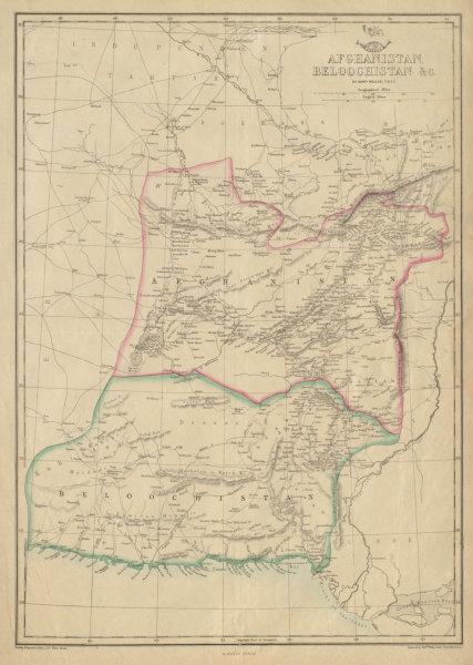 Associate Product AFGHANISTAN & BELOOCHISTAN. Pakistan. Kabul Karachi Quetta. WELLER 1862 map