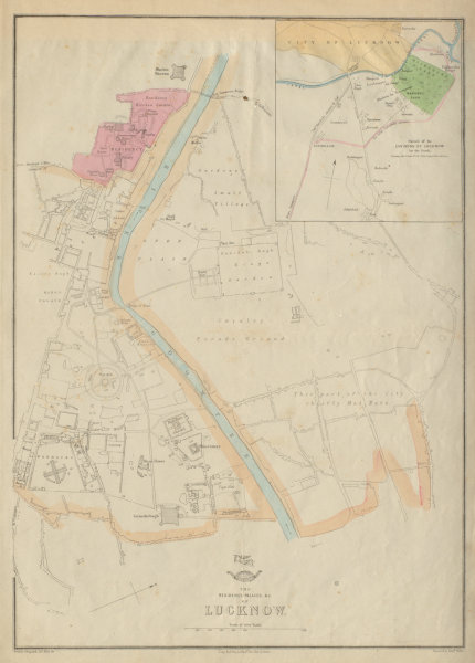 Associate Product LUCKNOW RESIDENCY & PALACES. Town plan.Shows Campbell's Advance.WELLER 1862 map