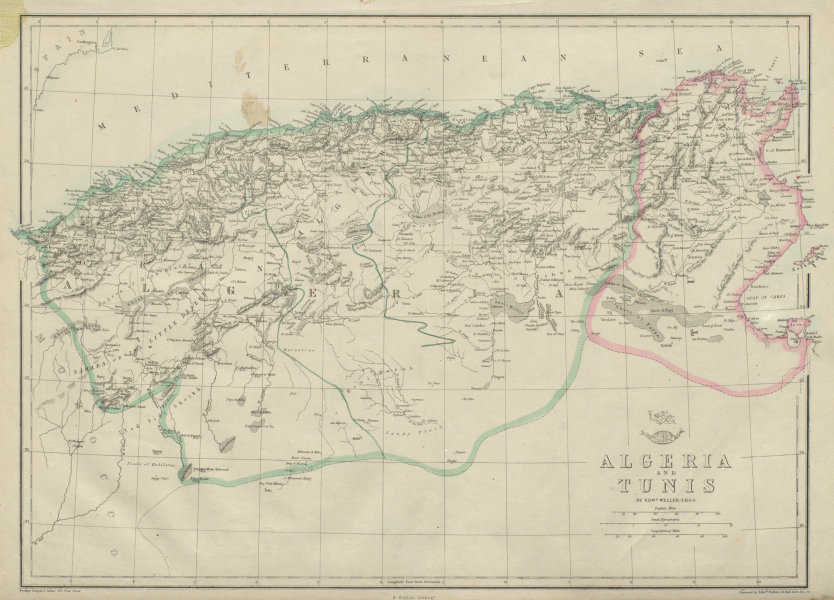 Associate Product NORTH AFRICA. 'Algeria and Tunis'. Tunisia. WELLER 1862 old antique map chart