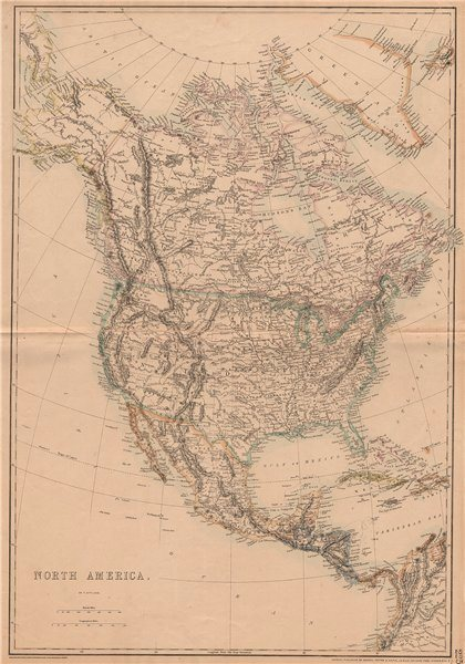 Associate Product NORTH AMERICA. State borders differ from those later settled. ETTLING 1862 map