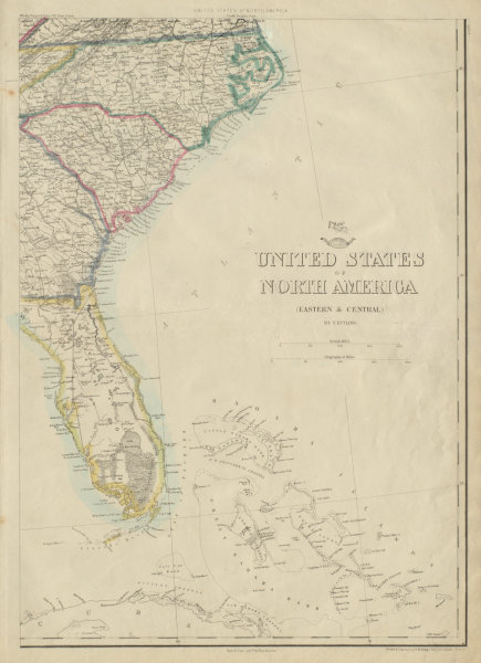 Details about USA SOUTH EAST. Florida Georgia Carolina coast Bahamas.  ETTLING 1862 old map