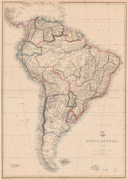 Associate Product 'South America'. La Plata Bolivia w/ littoral New Granada. ETTLING 1862 map