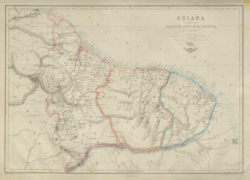 Associate Product 'Guiana Comprehending British, Dutch & French' Suriname Guyana.  LOWRY 1862 map
