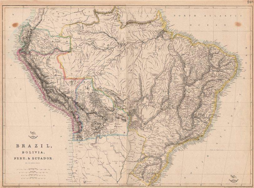 Associate Product S AMERICA 'Brazil, Bolivia, Peru, & Ecuador' Bolivia w/ littoral.LOWRY 1862 map