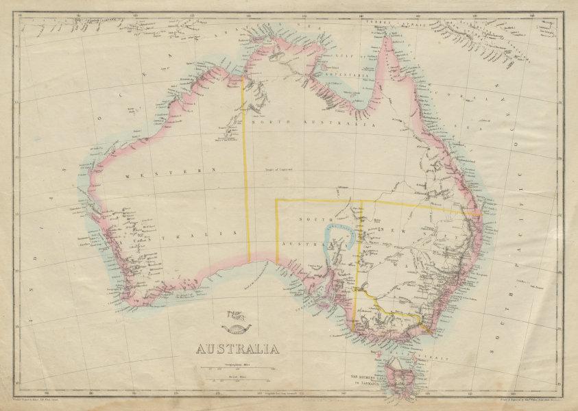 Associate Product AUSTRALIA showing 1856 states pre-Queensland 'North Australia'. WELLER 1862 map