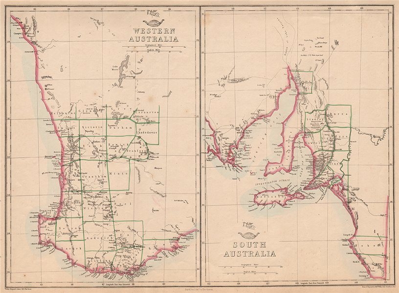 Associate Product WESTERN & SOUTH AUSTRALIA. Land Divisions. Perth Adelaide. WELLER 1862 old map