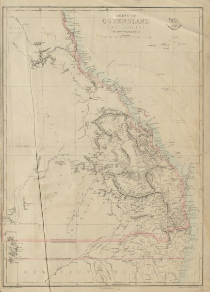 Associate Product 'COLONY OF QUEENSLAND (AUSTRALIA)'. Current & 1850 NSW border. WELLER 1862 map
