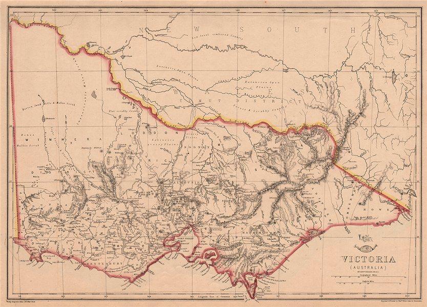 Associate Product VICTORIA. Shows 1st Australian steam railway Geelong-Melbourne. WELLER 1862 map