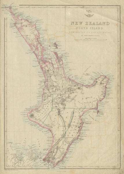 Associate Product 'New Zealand North Island. New Ulster or Eaheinomauwe' provinces DOWER 1862 map