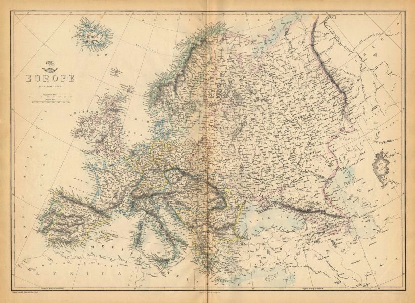 EUROPE. Shows Prussia British Ionian Islands Ottoman Empire. LOWRY 1863 map