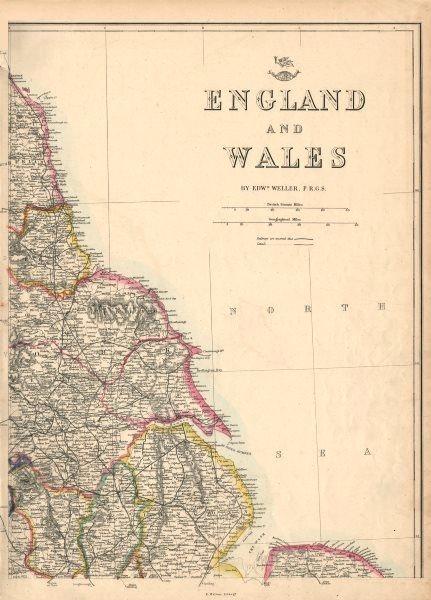 Associate Product ENGLAND NORTH EAST COAST Lincs Yorks Durham Northumbs. >Berwick WELLER 1863 map