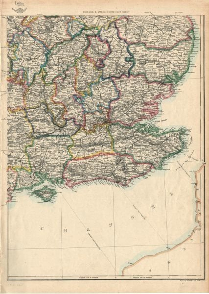 Associate Product SOUTH EAST ENGLAND. Home Counties Surrey Kent Sussex Hants &c. WELLER 1863 map