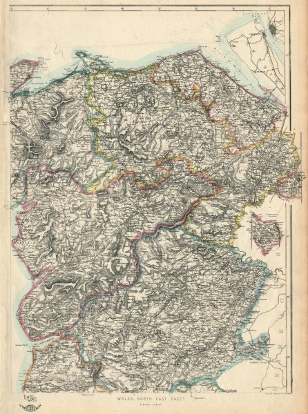 NORTH WALES. Montgomery Merioneth Denbigh Carnarfon Snowdonia. WELLER 1863 map