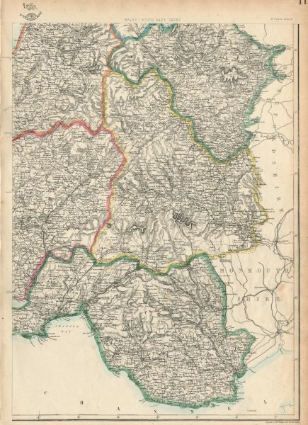 Associate Product SOUTH WALES. Glamorganshire Brecknockshire Radnorshire. WELLER 1863 old map