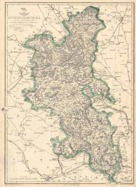 Associate Product BUCKINGHAMSHIRE. Antique county map. Railways canals. BR DAVIES 1863 old