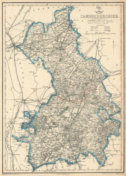 Associate Product CAMBRIDGESHIRE. Antique county map. Railways turnpike roads. DOWER 1863
