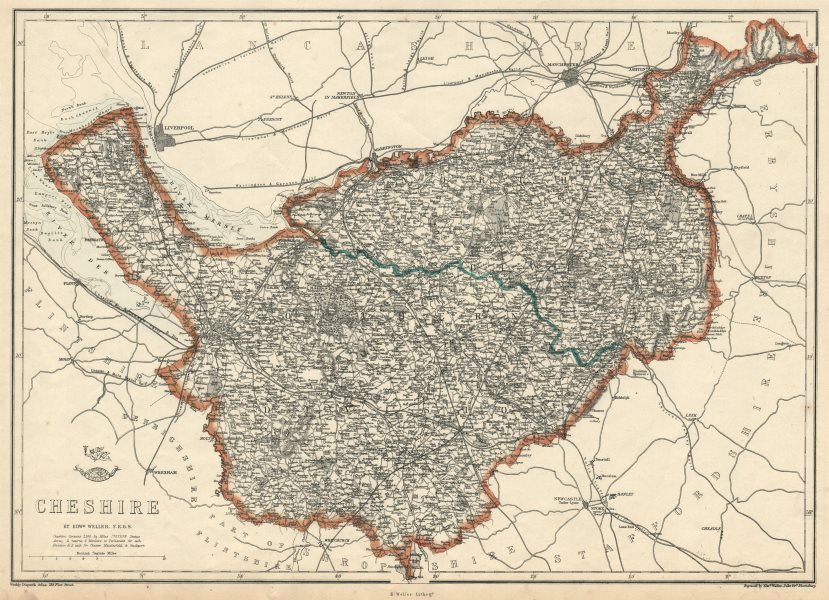 Associate Product CHESHIRE. Antique county map. Railways. WELLER 1863 old plan chart