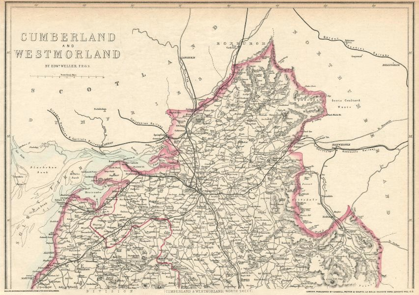 Associate Product CUMBERLAND NORTH. Carlisle Solway Firth. County map. Railways. WELLER 1863