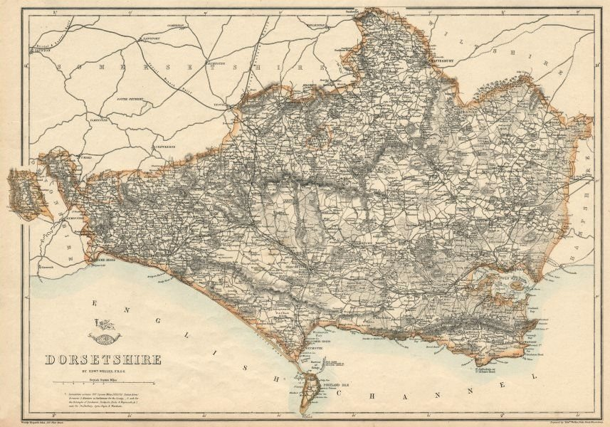 Associate Product DORSETSHIRE county map. Poole Weymouth. Exclave. Railways. WELLER 1863 old