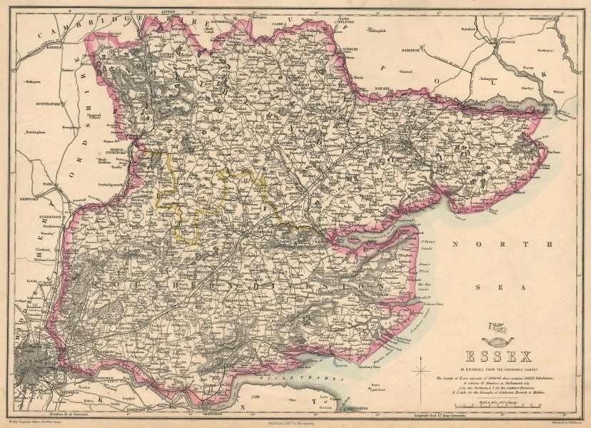 Associate Product ESSEX. Antique county map. Railways. BR DAVIES 1863 old plan chart